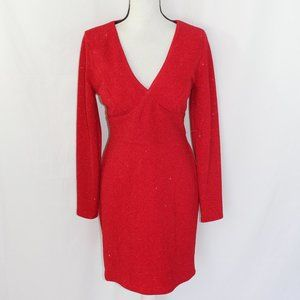 City Studio Sparkly Red Open Back Dress NWOT